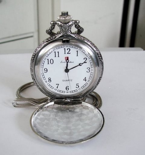 "Pocket Watch Quartz Stainless 14"" Chain"