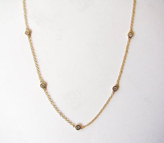 Ceation Diamond Tiffany Chain .90Ct 18k Y/g Overlay