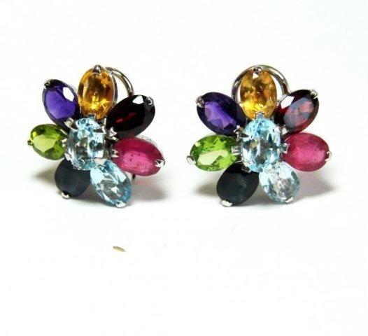 Natural Multicolor Earrrings 18.40Ct 18k W/g Overlay
