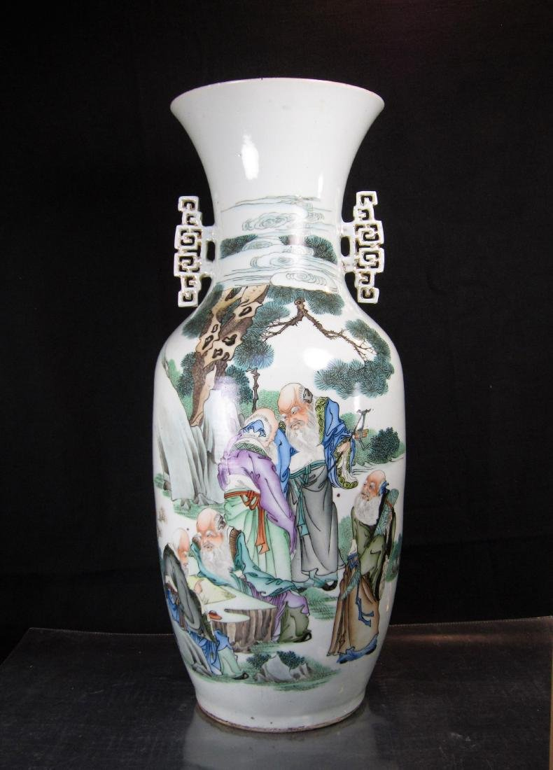 A Large Chinese Famille Rose Enameled Vase by Mao
