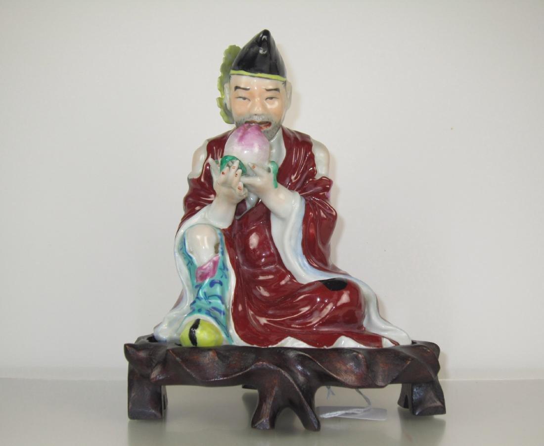 A Chinese Polychrome Porcelain Buddha Figure - Jigong