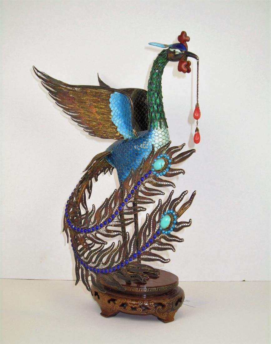 A Large Chinese Gilt Enameled Silver Peacock