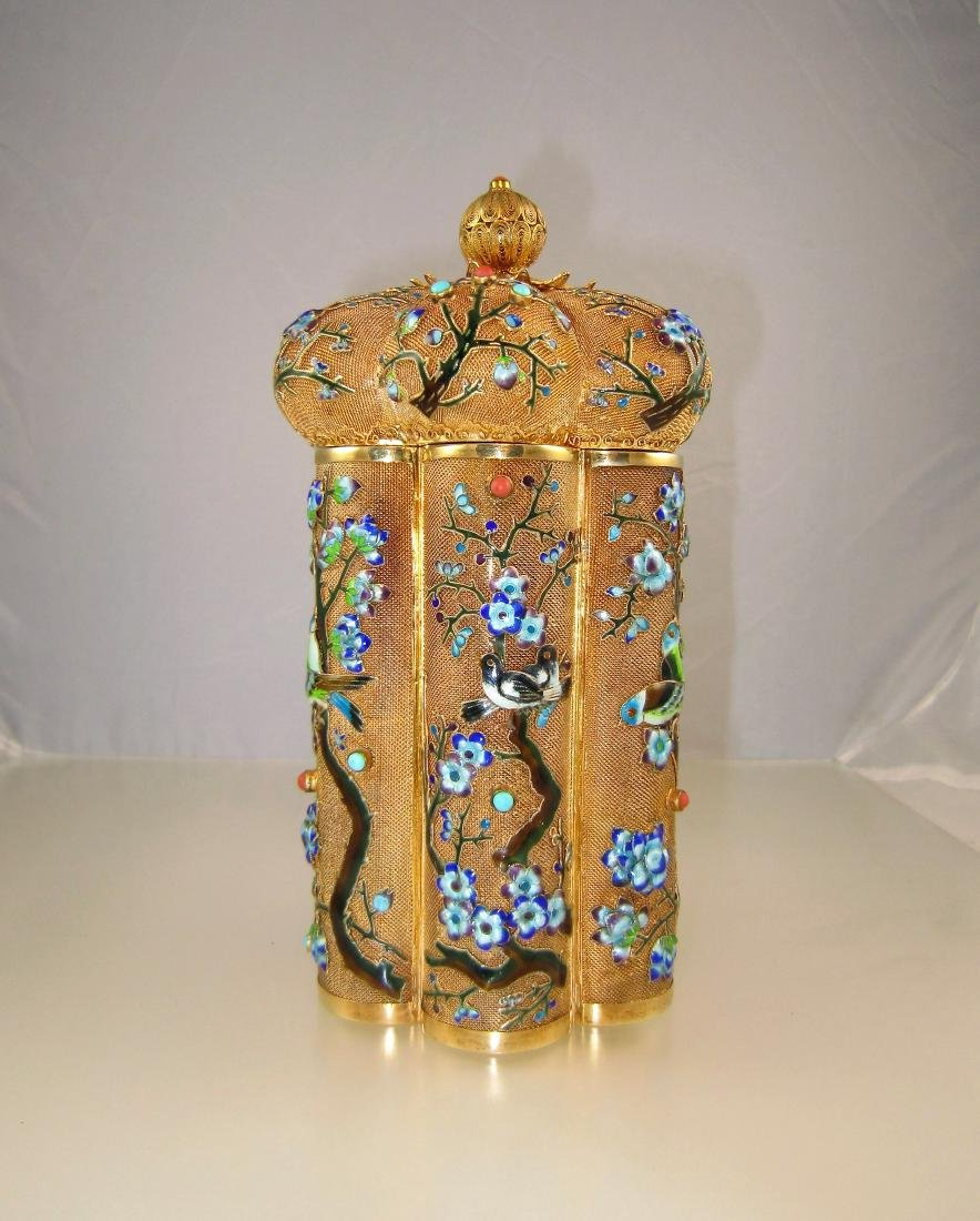 A Large Chinese Gilt Enameled Silver Cylinder Box