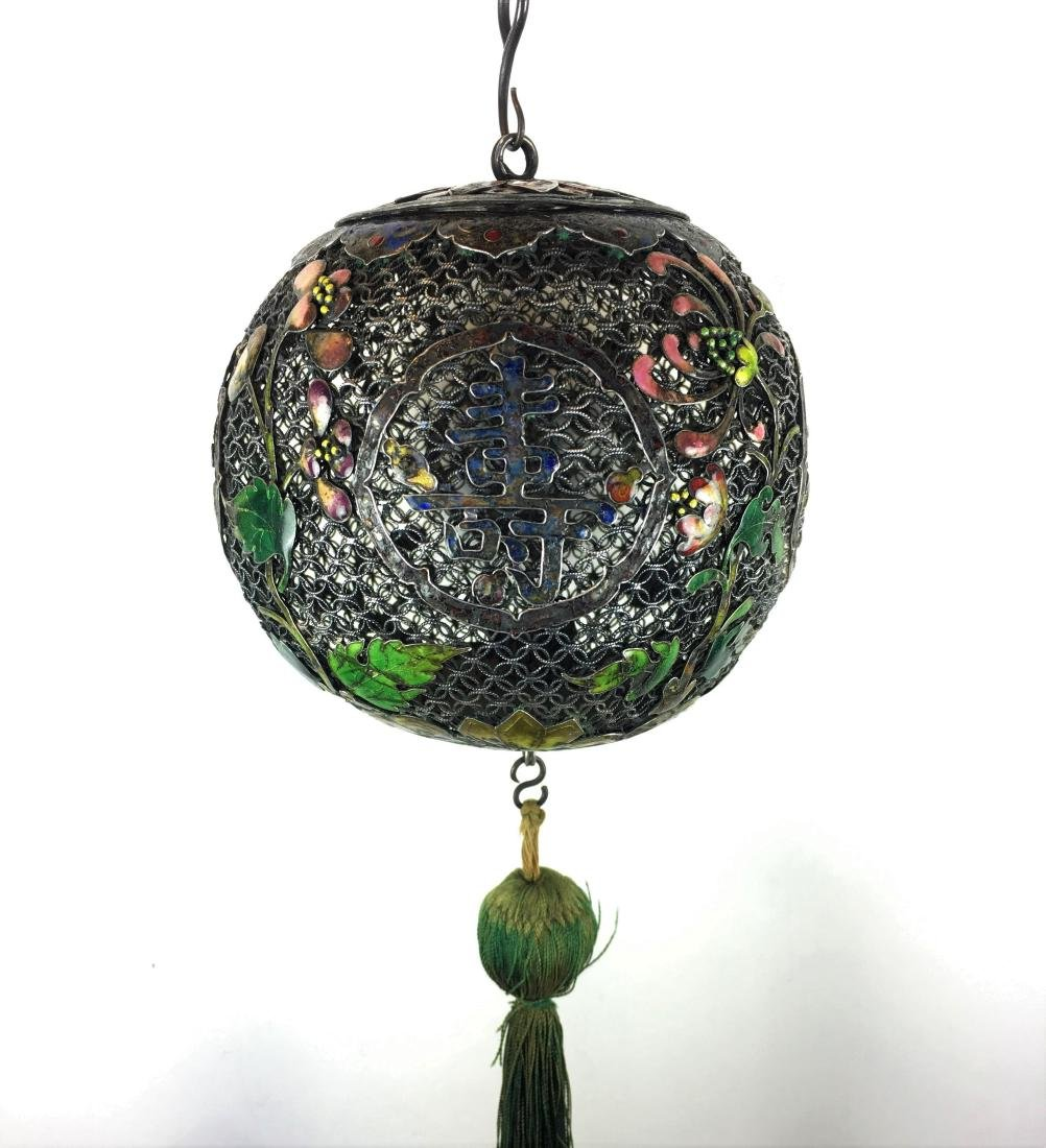 A Magnificent Chinese Enameled Filigree Silver Incense
