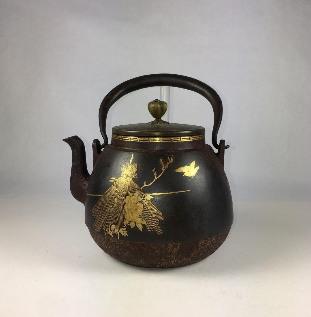 A Vintage Japanese Partial Gilt Iron Teapot
