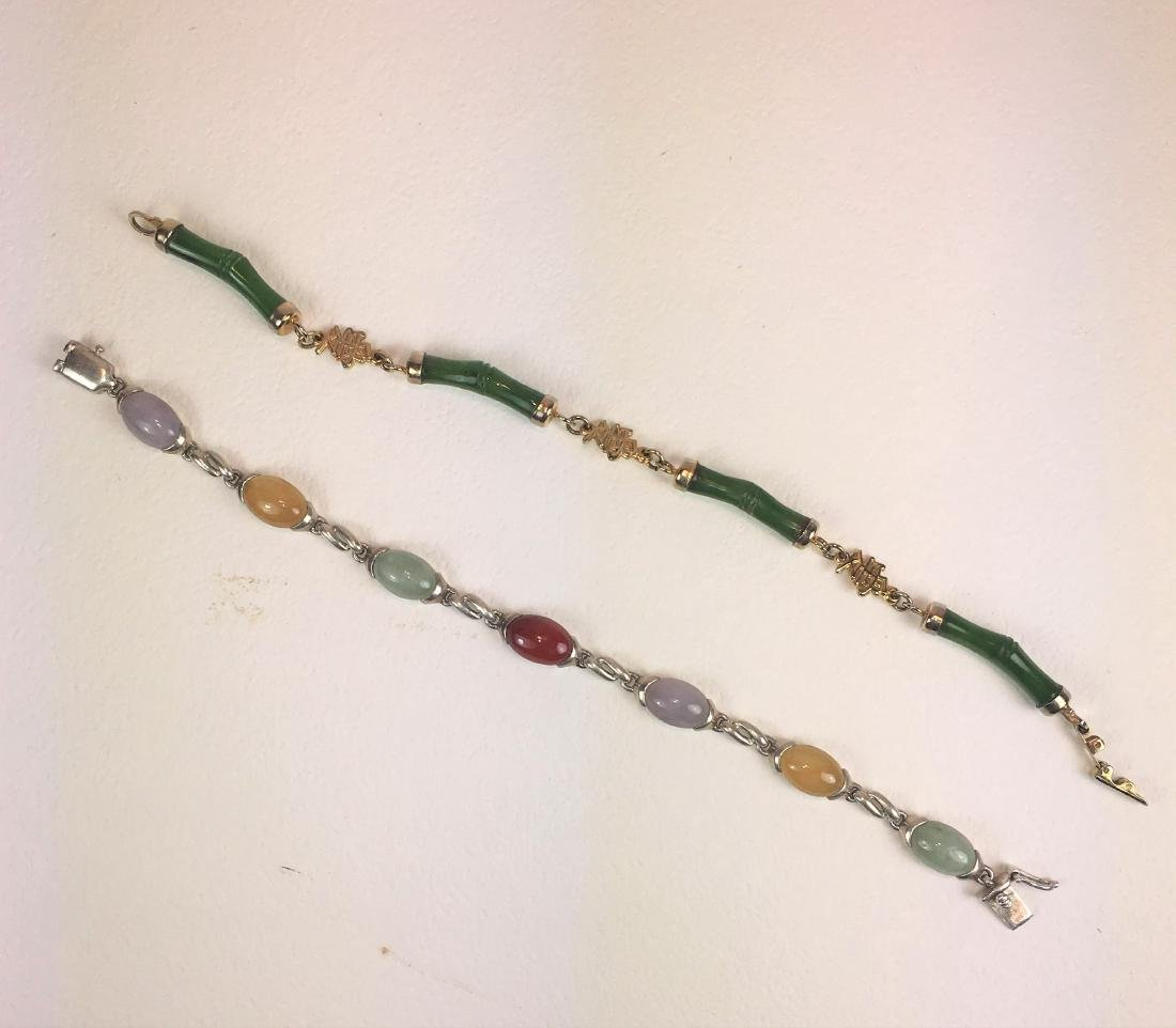 Two Silver Mounted Jade and Gemstone Bracelets