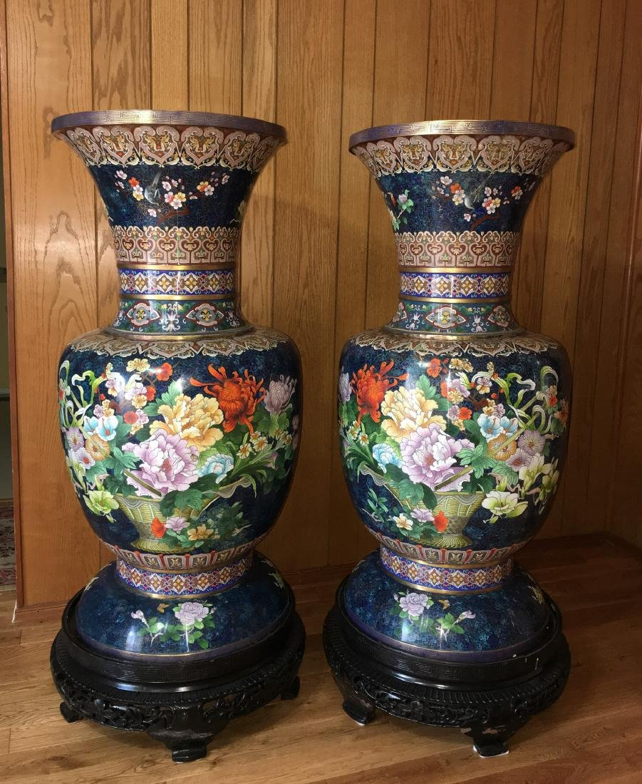 A Pair of Monumental Chinese Cloisonne Vases