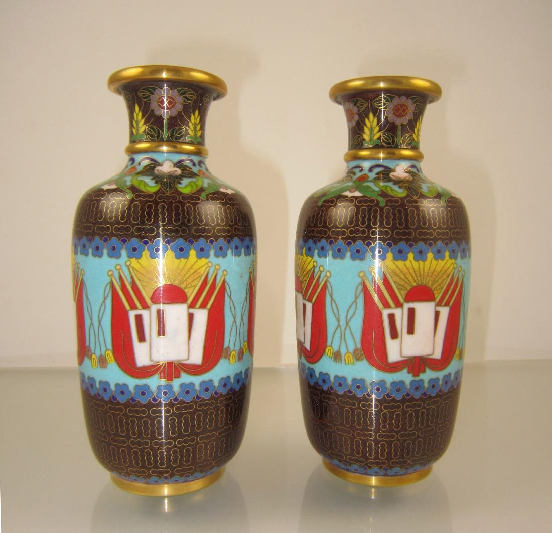 A Pair of Rare Chinese Cultural Revolution Cloisonne
