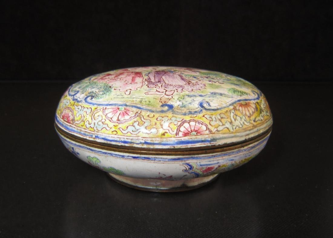 A Chinese Canton Enamel Copper Ink Box