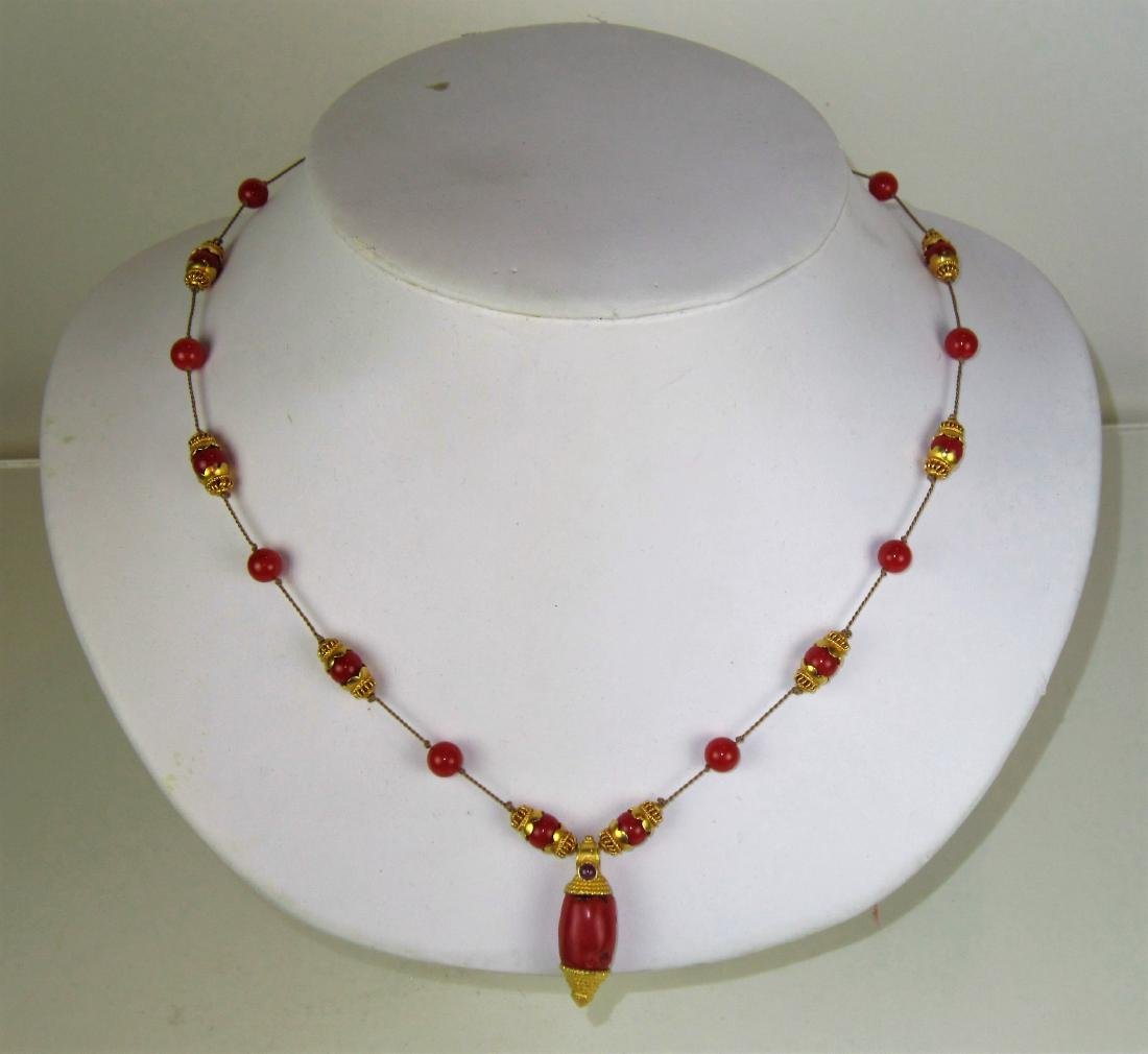 A 18K Gold and Red Coral Necklace