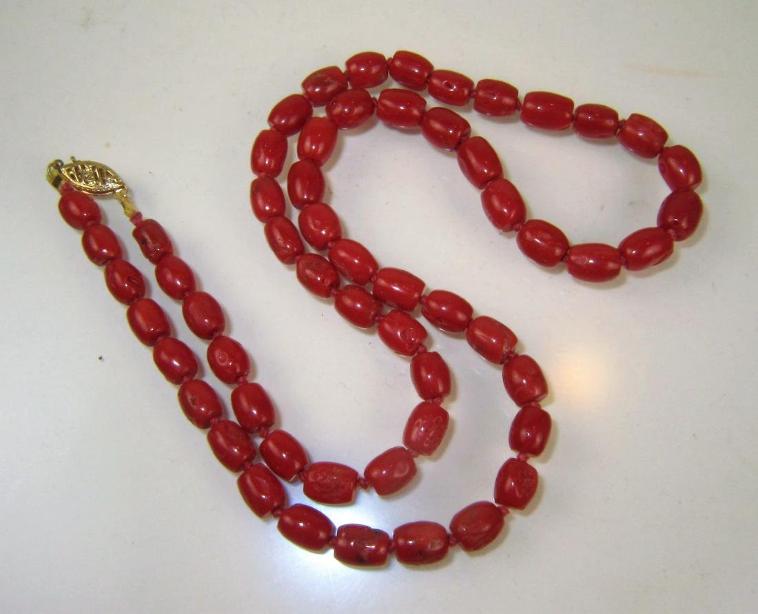 Vintage Red Coral Bead Necklace