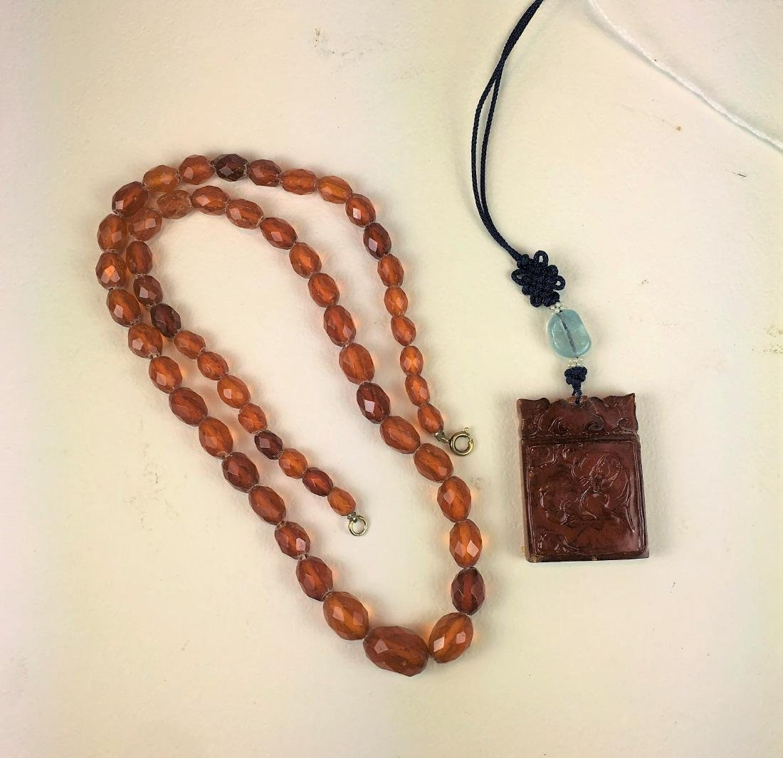 Vintage Amber Beaded Necklace and Pendant