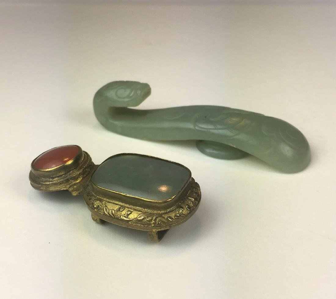 A Bronze Belt Buckle with Jade/Agate and Celadon Jade