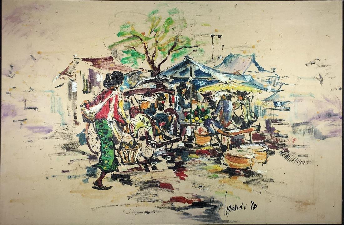 An Asian Oil Painting on Canvas - Market Scene