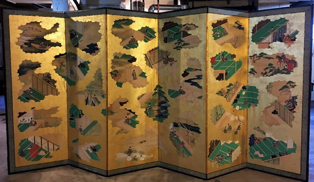 A Large Japanese Six-Panel Fold Floor Screen, 18Th/19TH