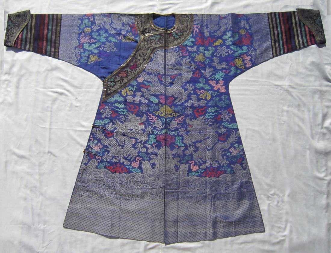 A Chinese Brocade and Embroidered Silk Robe