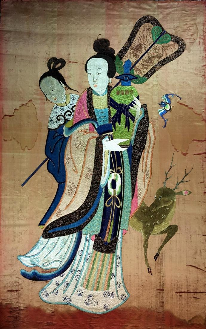 A Large Chinese Silk Embroidery - Magu Xian Shou