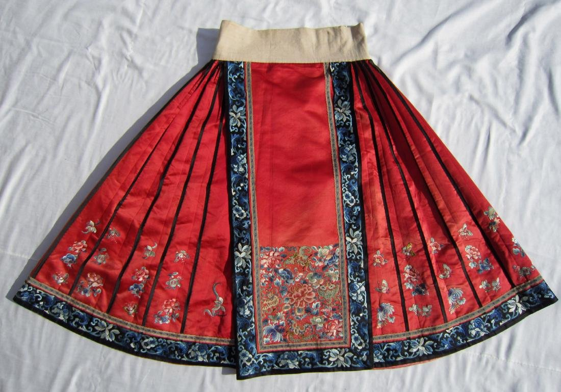 A Chinese Red Silk Skirt with Imperial Stitch Flower