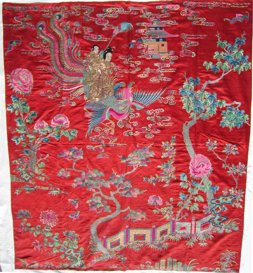 A Large Chinese Embroidery Silk Panel with Phoenix