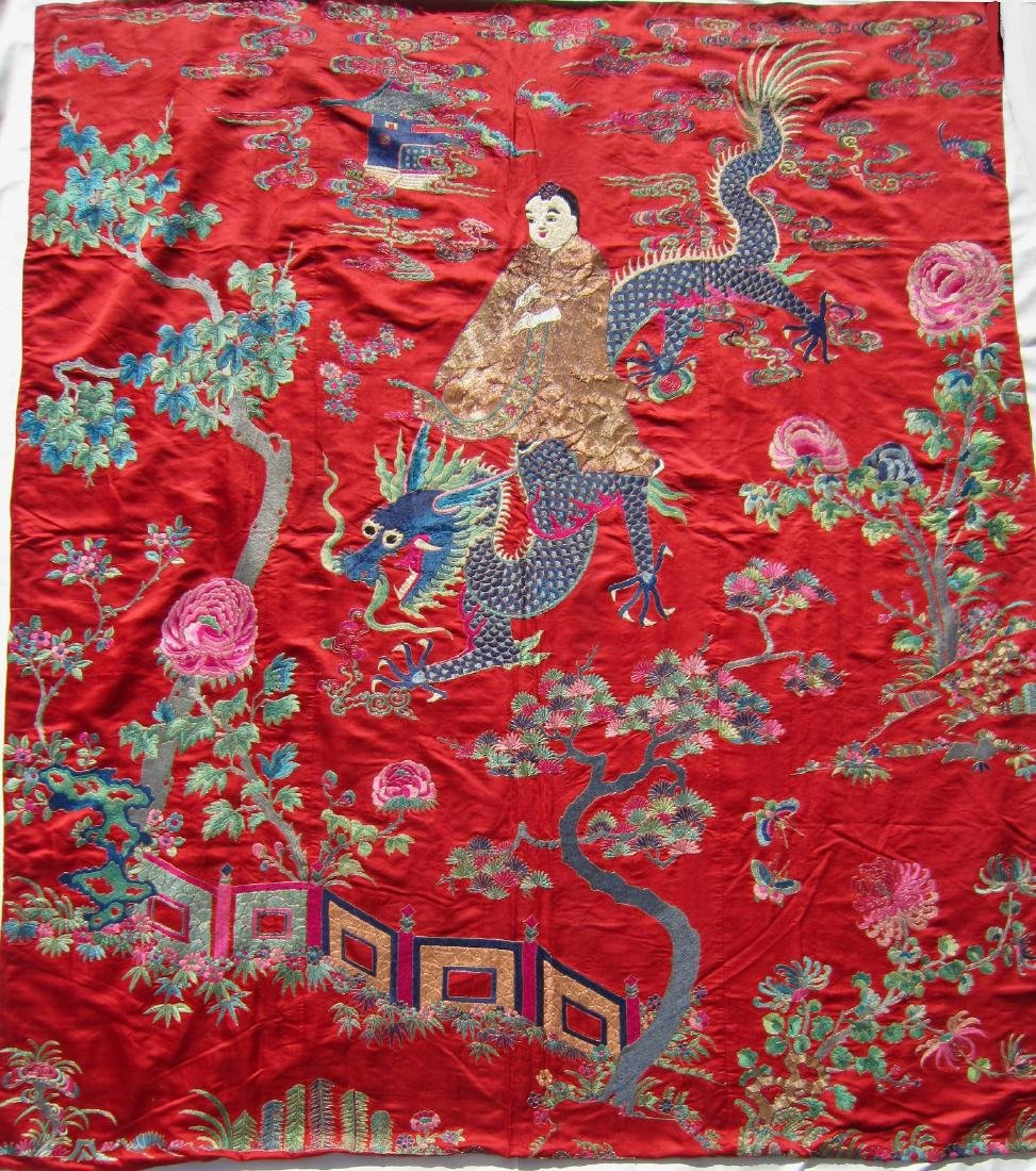 A Large Chinese Silk Embroidery Panel with Dragon