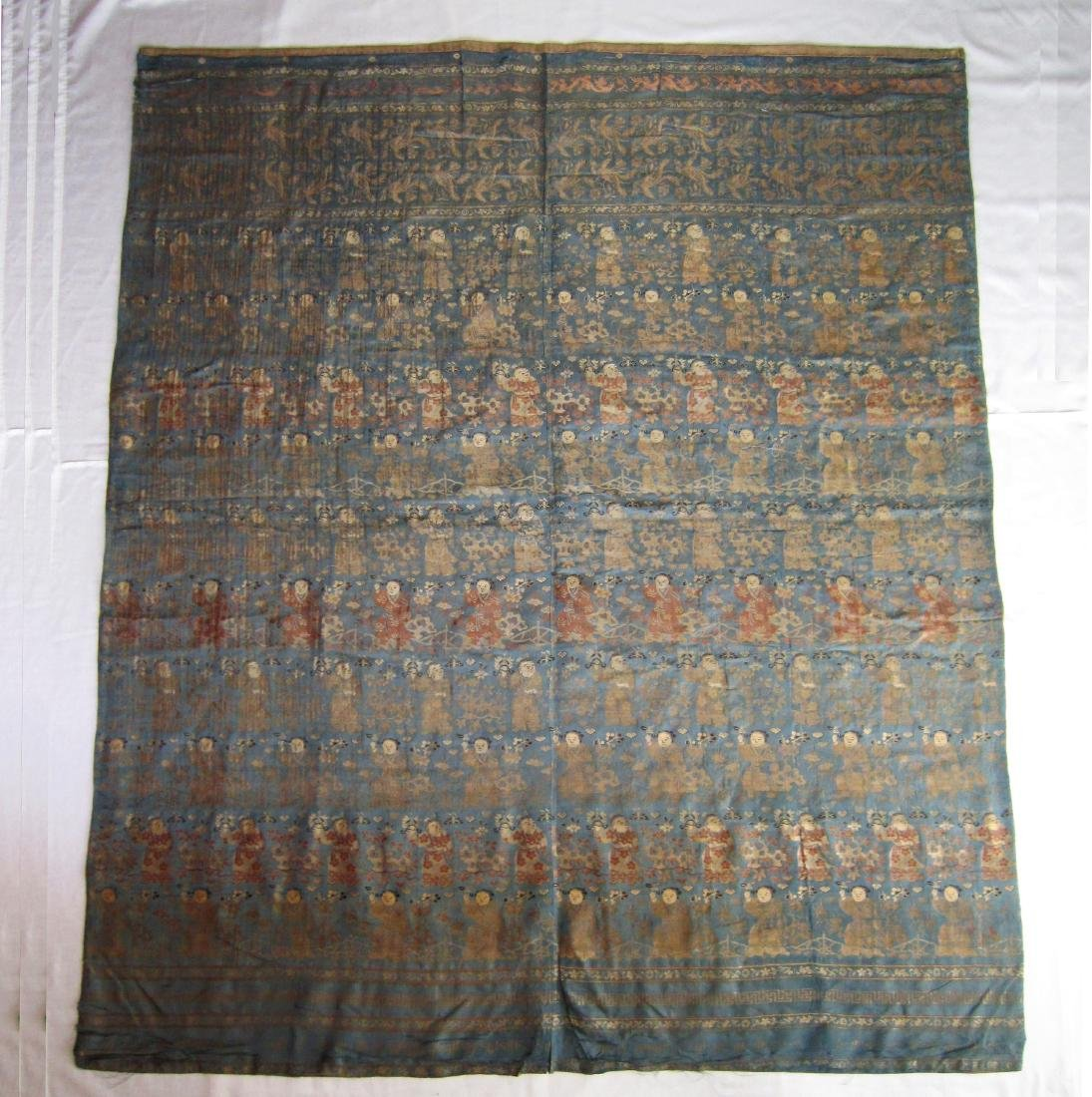 A Large Chinese Brocade Silk Panel with 100 Boys