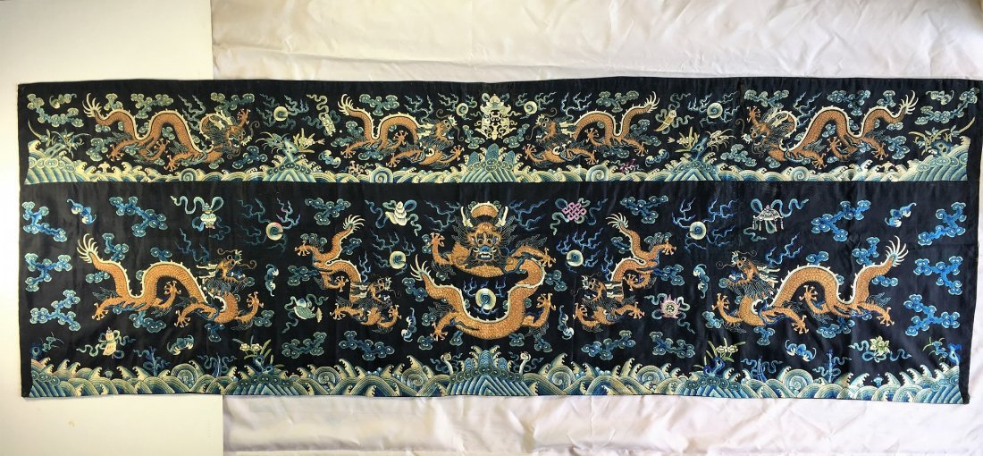 A Large Chinese Embroidery Dragon Panel