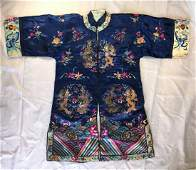 A Chinese Embroidery Cobalt Blue Silk Lady Robe