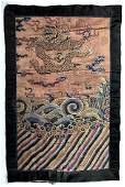 A Chinese Brocade Blue Silk Dragon Panel, Qing Dynasty