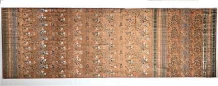 A Large Chinese Brocade Silk Panel - 100 Boys on Orange