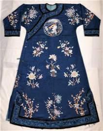 A Chinese Embroider Royal Blue Brocade Silk Robe