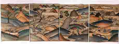Five Chinese Kesi Embroidery Silk Panels