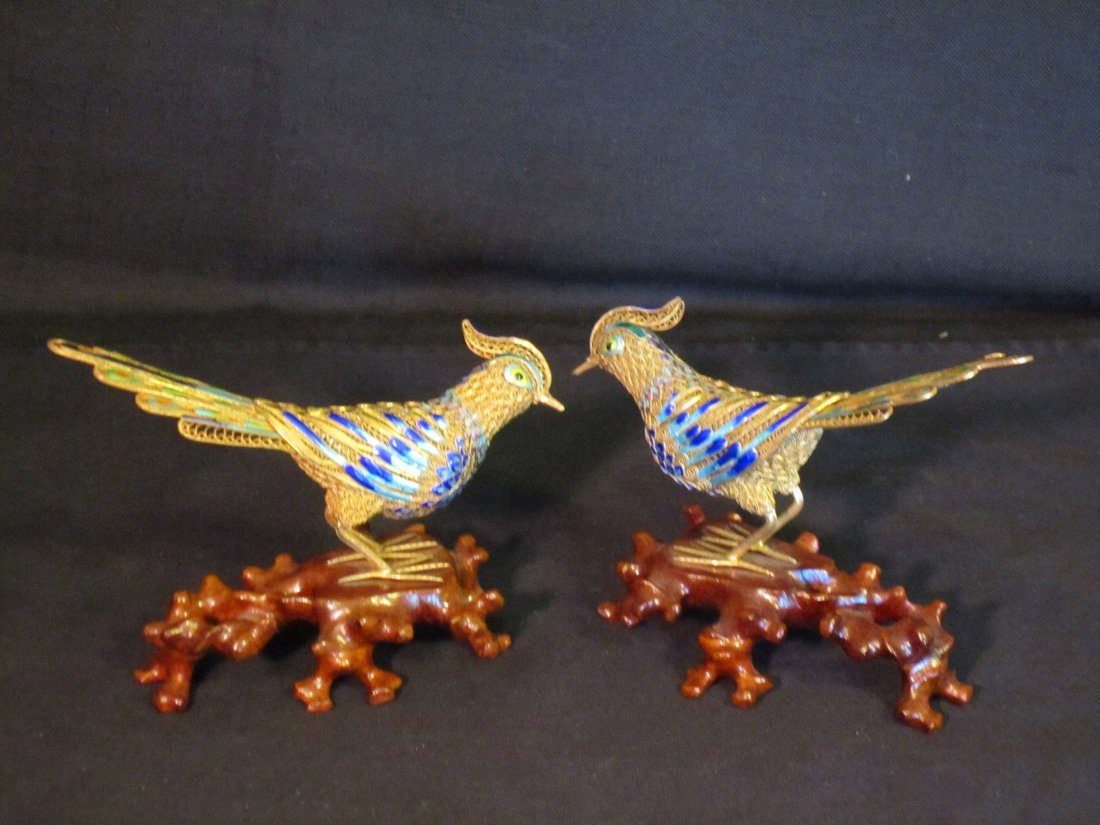 Pair of Chinese Gilded Silver Birds With Enamel