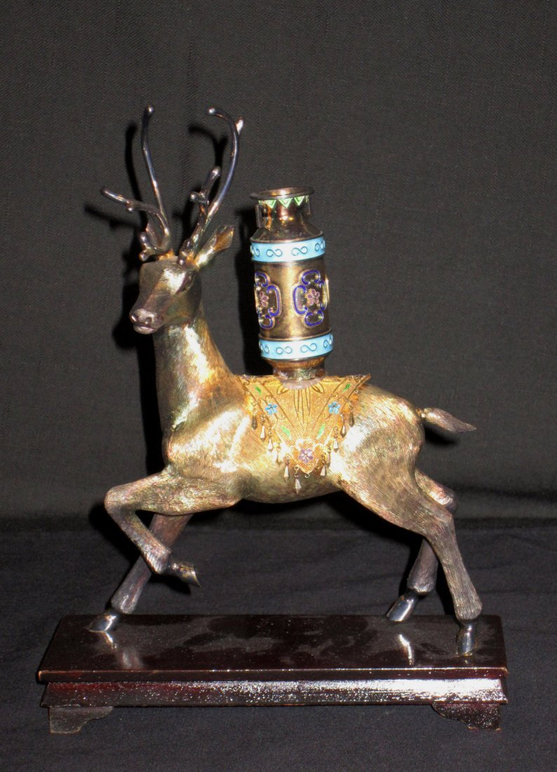 A Chinese Gilded Silver Deer With Enamel