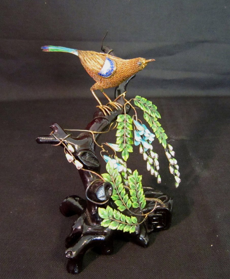 Chinese Gilt and Enamel Silver Bird and Vine