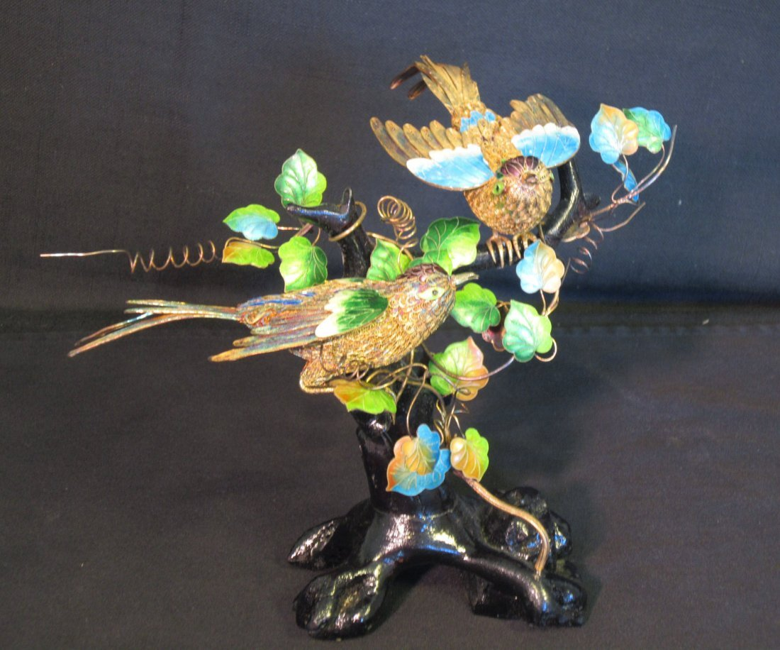 Pair of Chinese Gilt and Enamel Silver Birds and Vine
