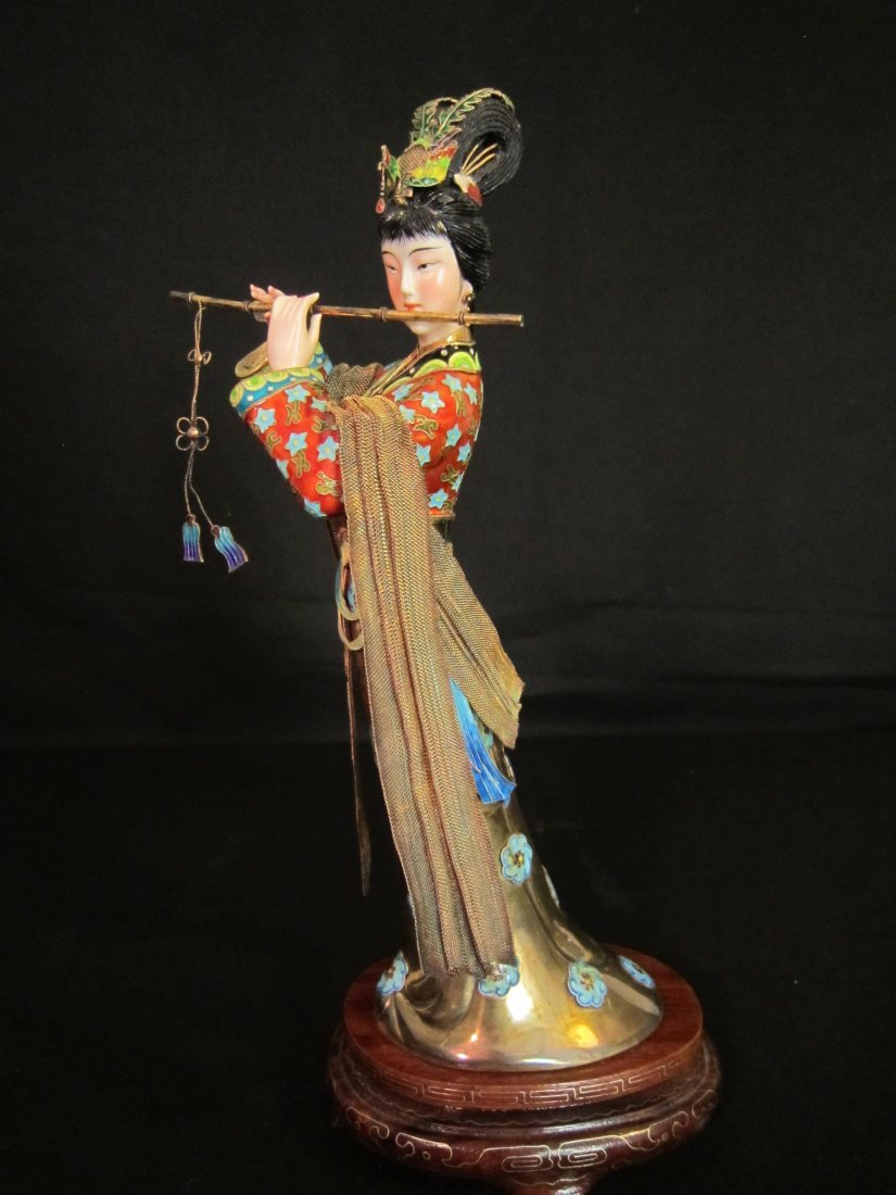 A Chinese Enamel Silver Lady with Ivory