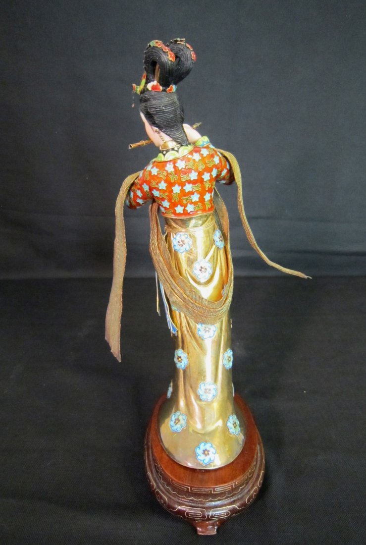 A Chinese Enamel Silver Lady with Ivory - 2