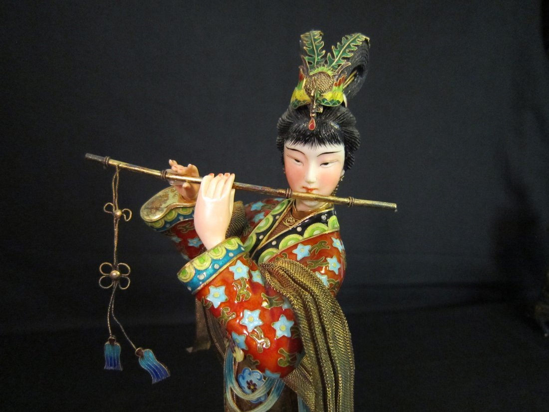 A Chinese Enamel Silver Lady with Ivory - 3