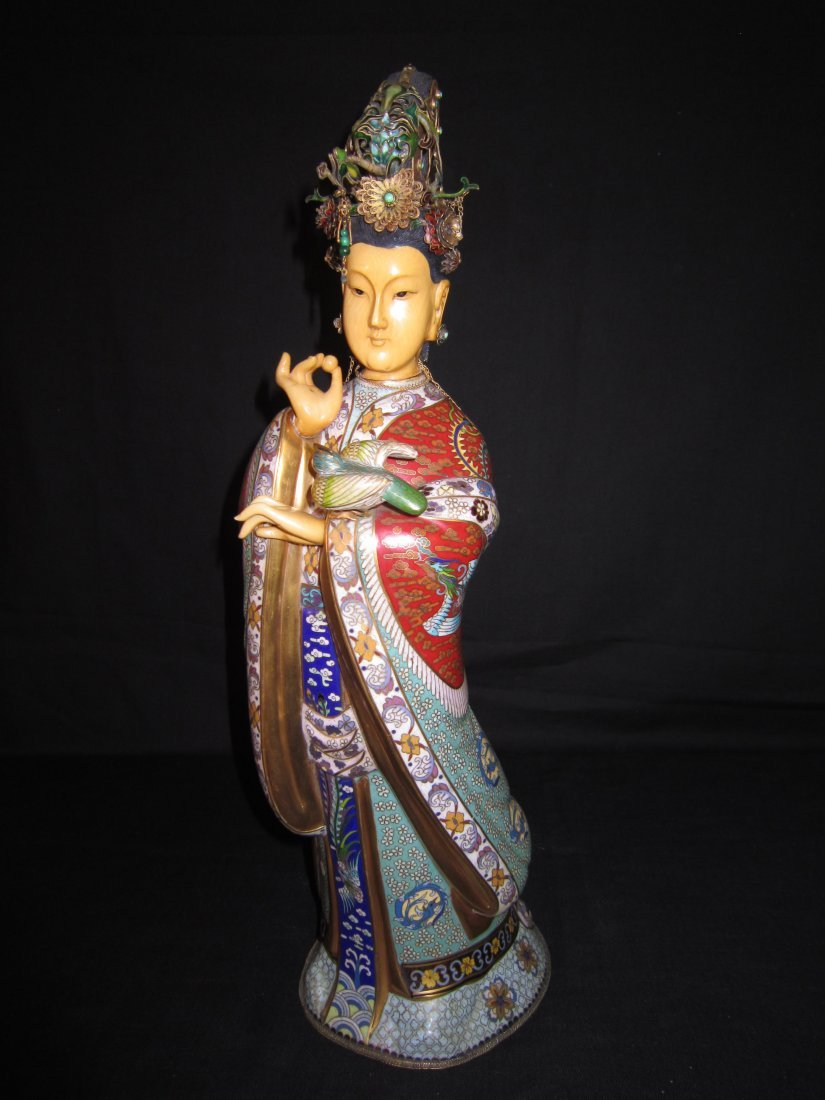 A Large Chinese Cloisonne and Ivory Empress