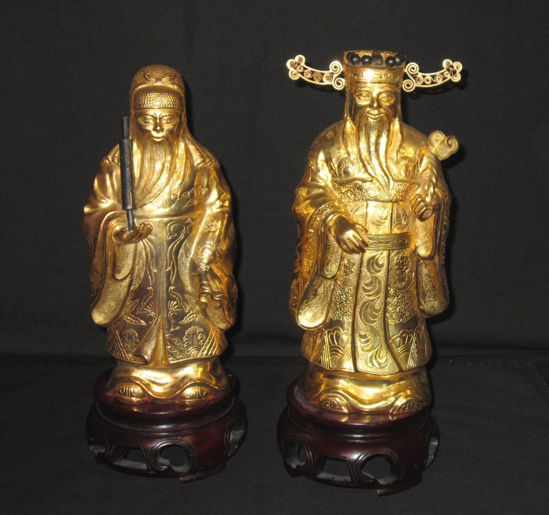 Two Chinese Gilt Silver Figures of Immortals