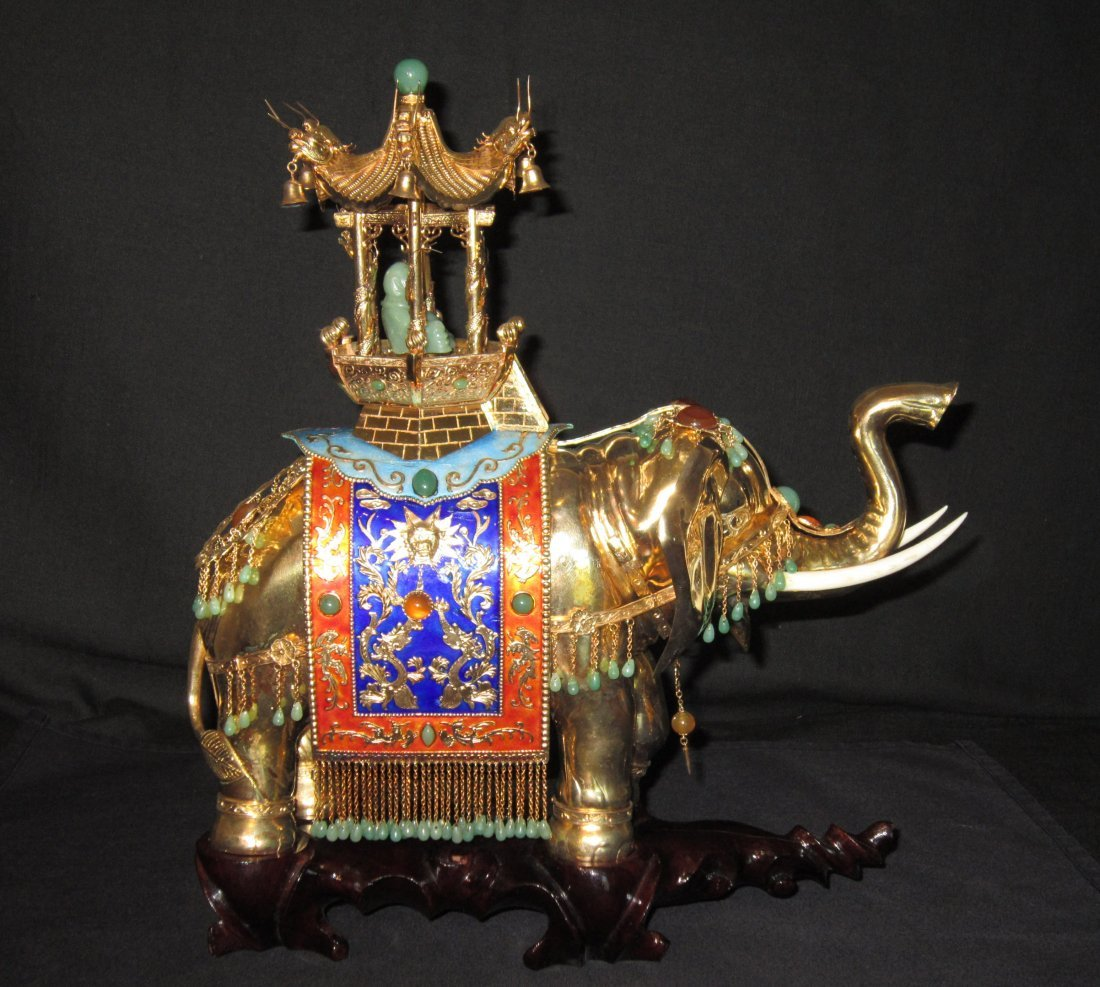 A Large Chinese Gilt and Enamel Silver Elephant