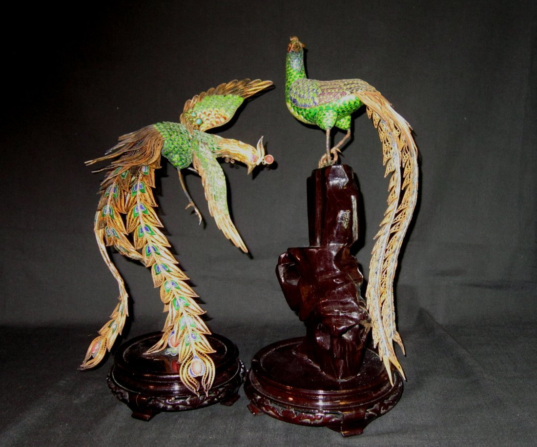 Large Pair of Chinese Enameled  Silver Phoenix