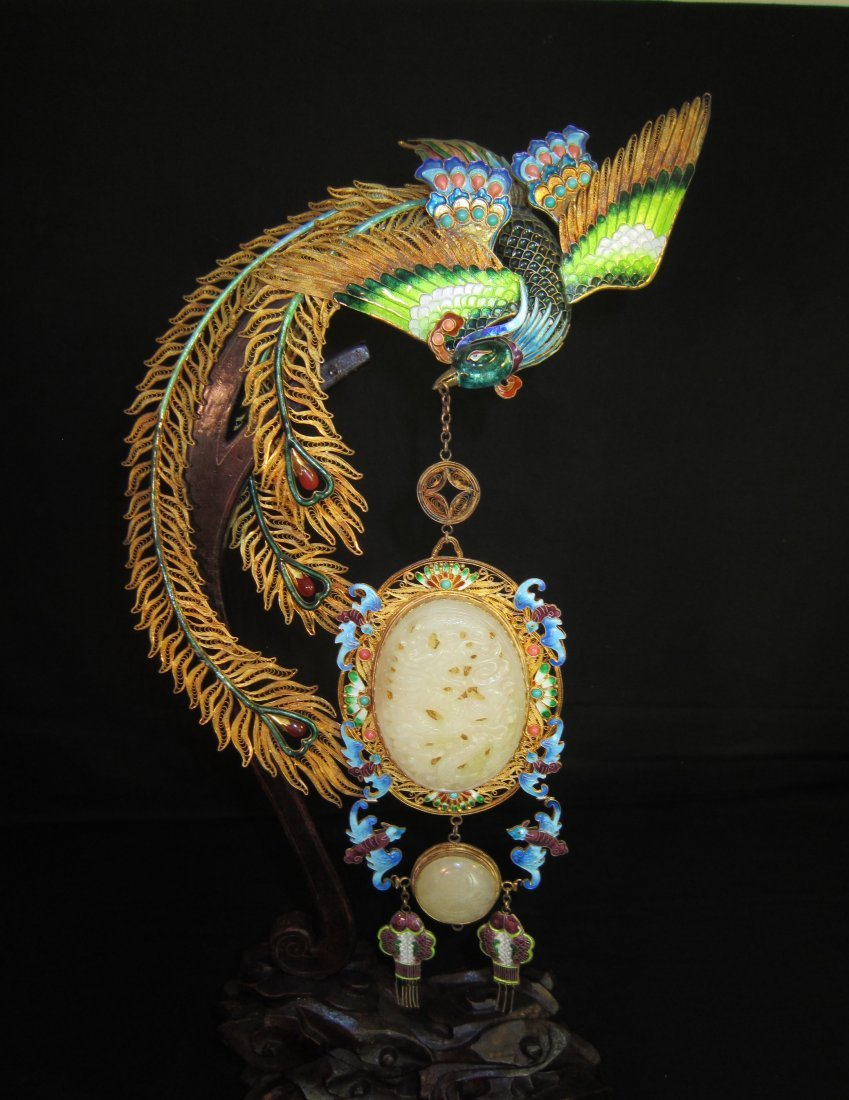A Chinese Gilt and Enamel Silver Phoenix with Jade