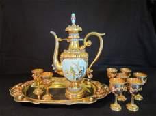 Superb Chinese Gilt and Enamel Silver Tea Set