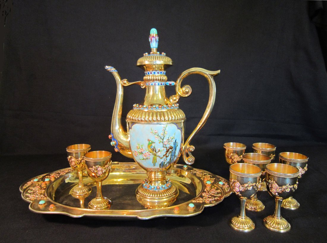 Superb Chinese Gilt and Enamel Silver Tea Set