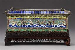 Chinese Enamel Over Silver Model of 9-Dragon Wall