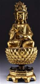 Magnificent Chinese Ming Gilt-Bronze Figure of Quanyin