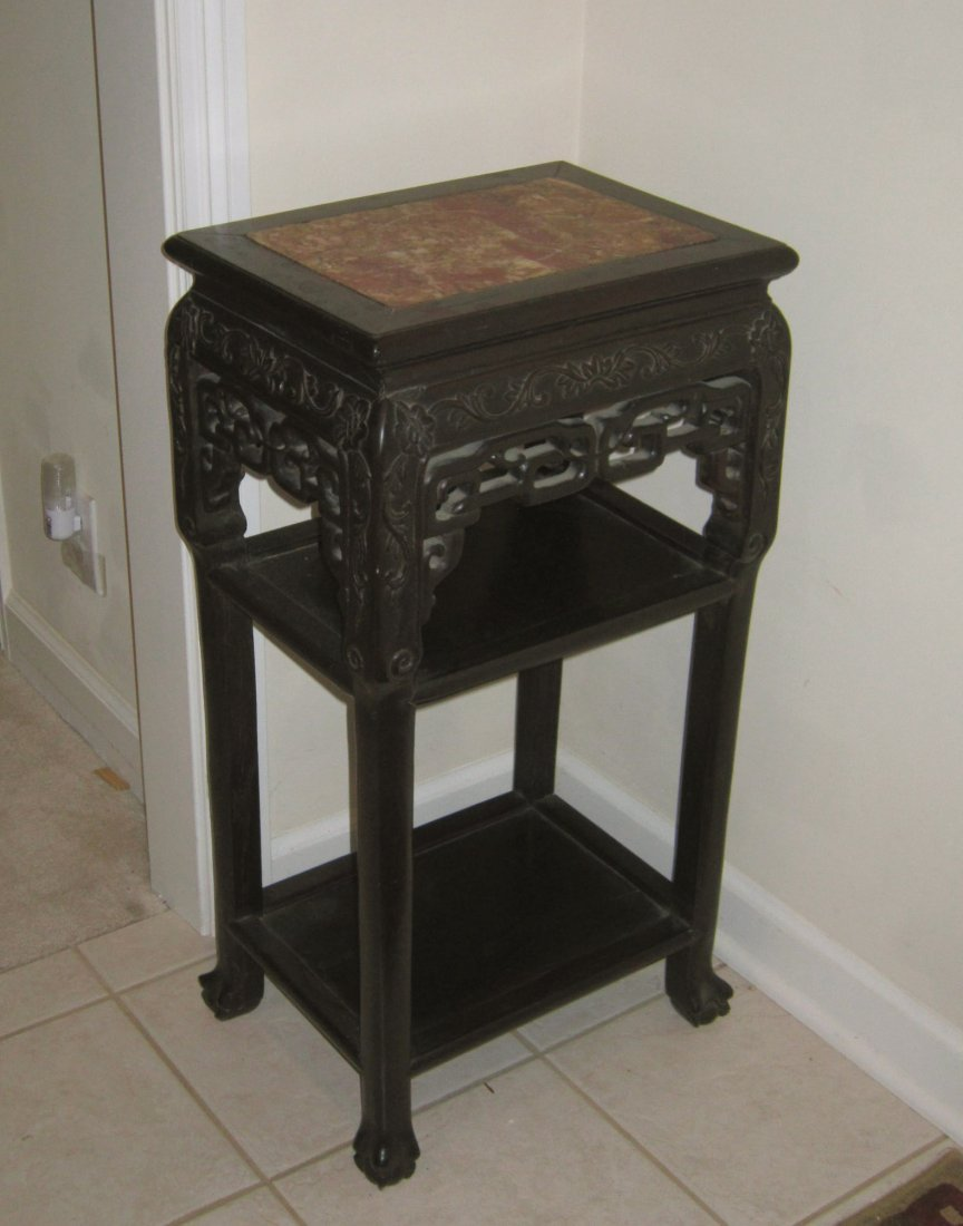 Chinese 19c Carved Hardwood Marble Stand