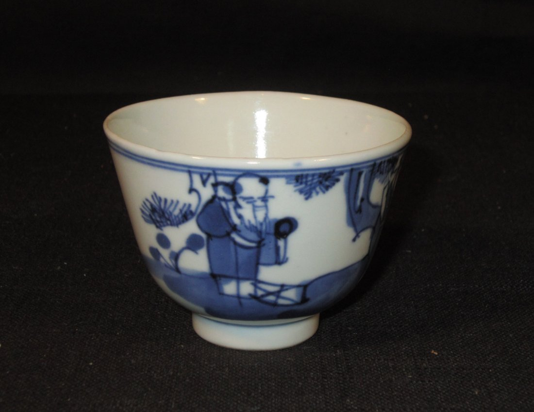 A Chinese Late Ming Blue and White Porcelain Cup