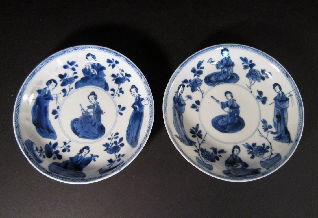 A Pair of Fine Chinese Kangxi Blue and White Plates